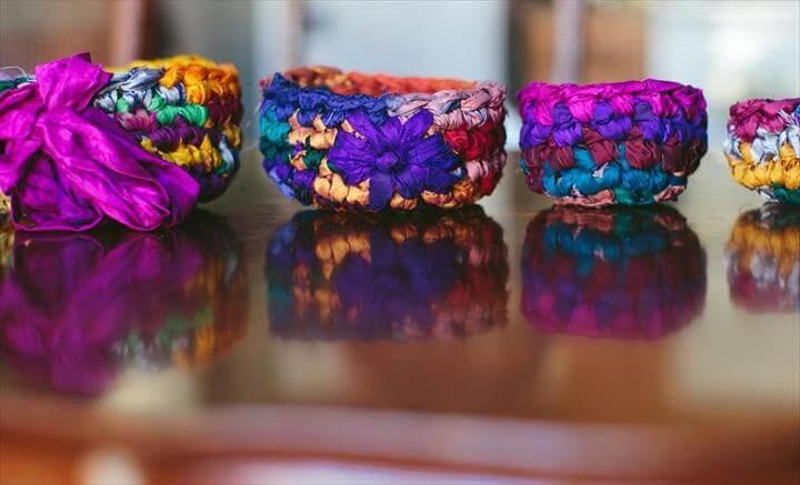 sari silk nesting bowls crochet pattern