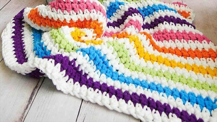 Crochet Rainbow Stripes Baby Blanket