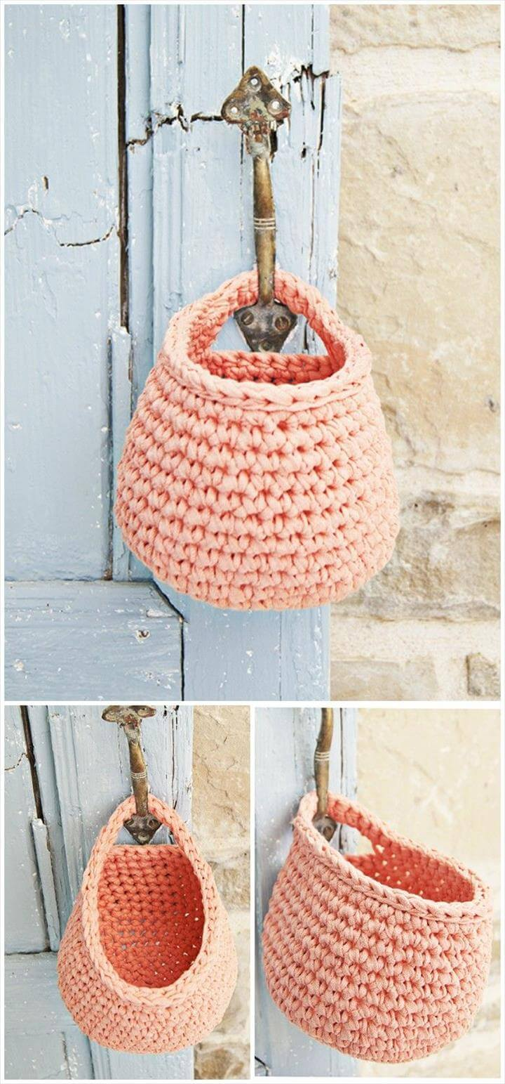 storage basket, hanging basket, crochet basket