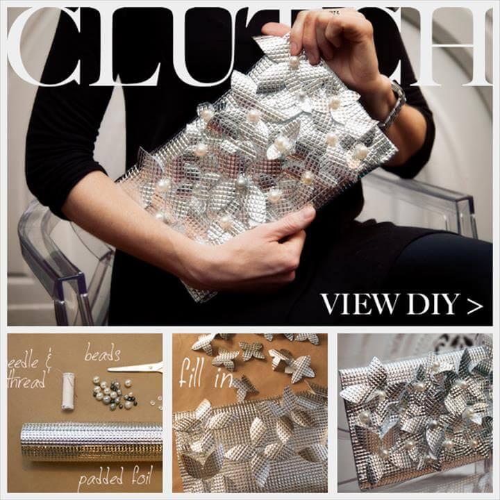 DIY Foil Clutch, diy crafts, diy fashion, clutch tutorials