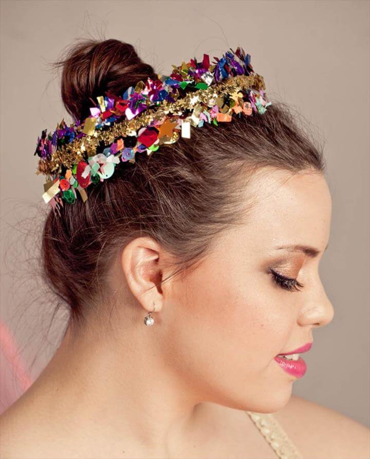Confetti Crowns, new year, nye party, new year ideas, DIY Headbands and Hairpins to Make for NYE