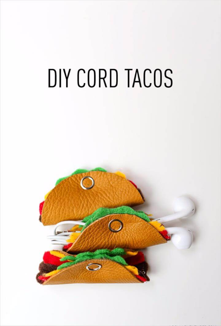 Best DIY Gifts for Girls - DIY Cord Tacos -Cute Crafts and DIY Projects that