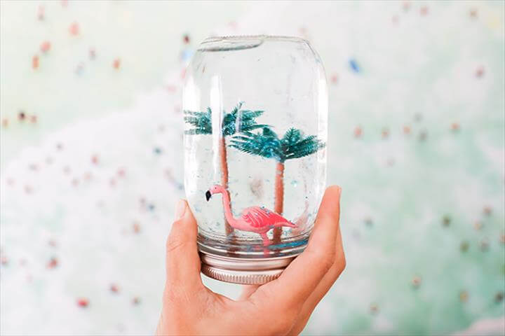 Summer Flamingo Snow Globe