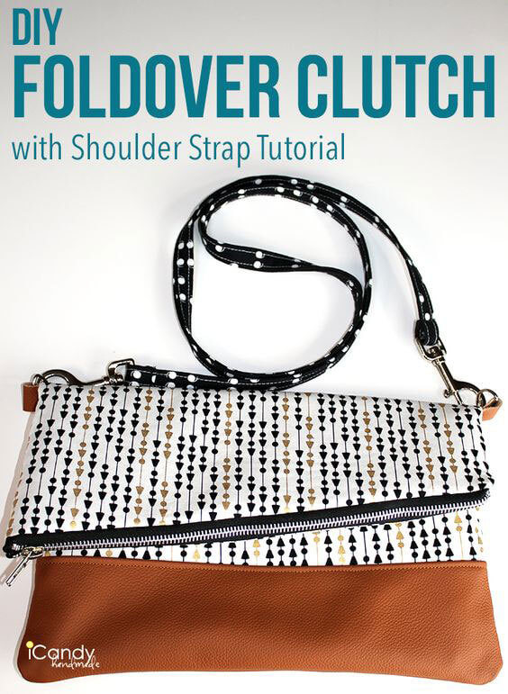 DIY Foldover Clutch with Shoulder Strap