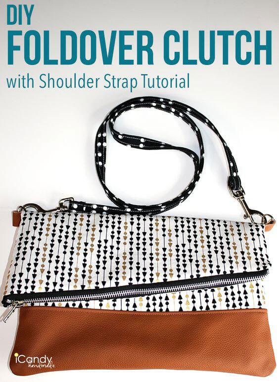 DIY Foldover Clutch with Shoulder Strap