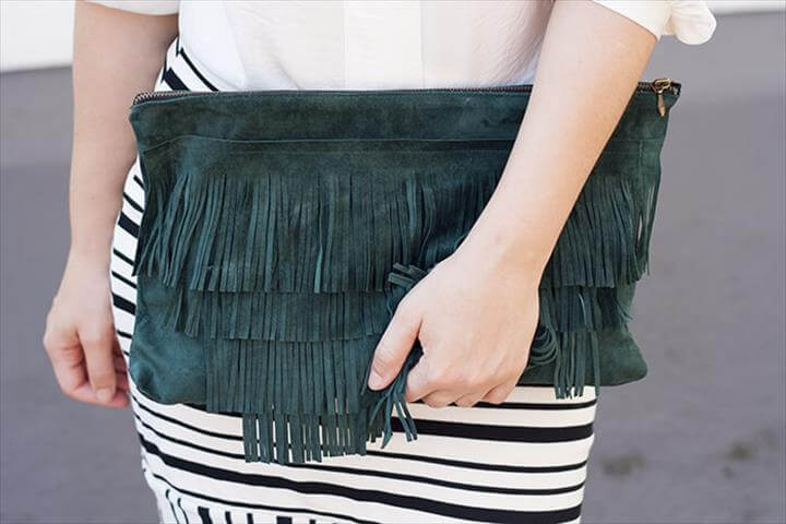 diy fringe clutch bag tutorial