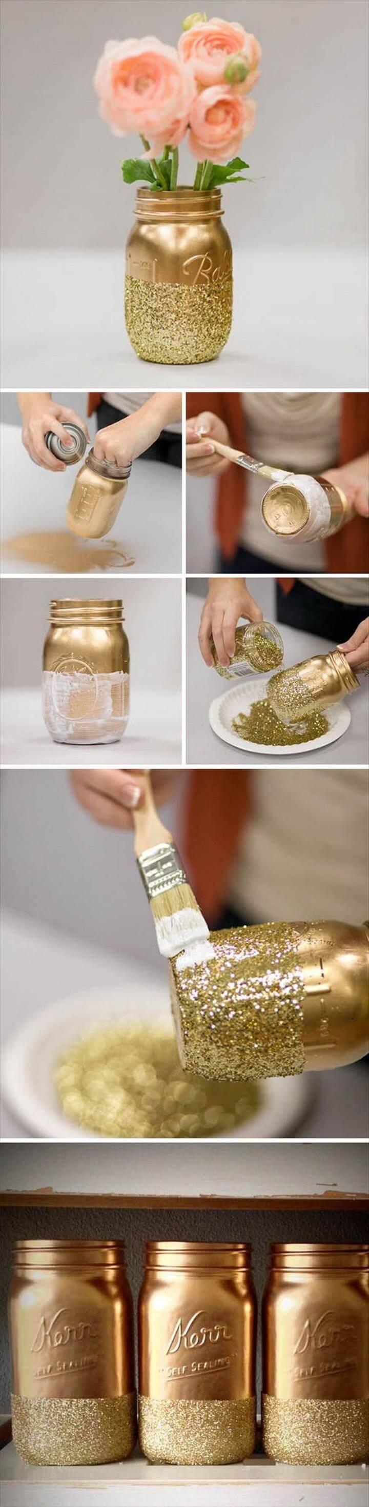 DIY Glitter Mason Jars Wedding Decoration