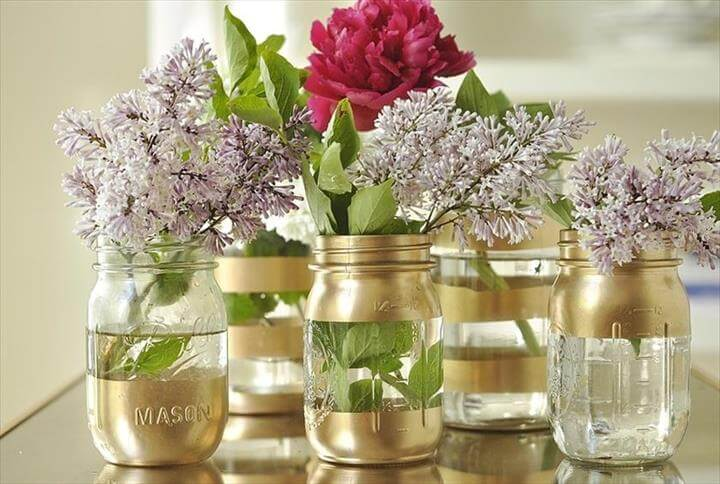 Decorated Mason Jar Vases