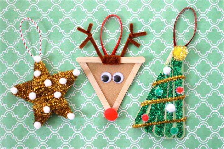 The best DIY projects & DIY ideas and tutorials: sewing, paper craft, DIY... Diy Crafts Ideas Popsicle Stick Ornaments