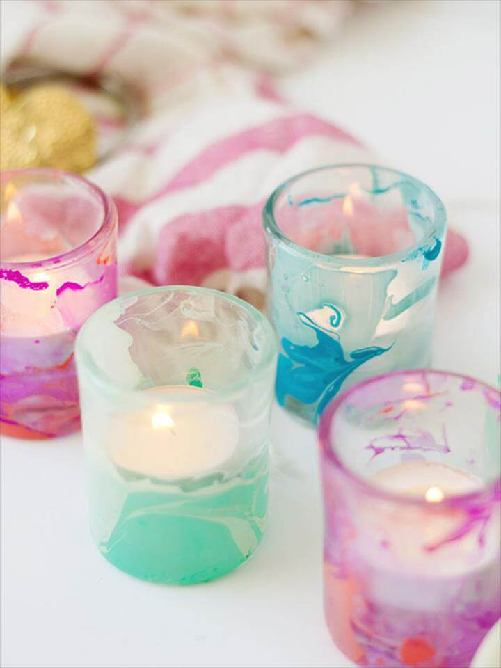 Easy DIY Gifts, Cool Crafts for Teens, Marbled DIY Candle Votives, DIY Projects