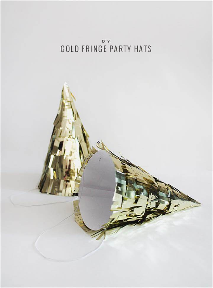 diy NYE fringe hat, diy gold fringe party hats