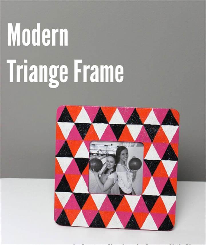 diy picture frame, home decor, handmade, gift idea, craft for teens, modern triangle frame