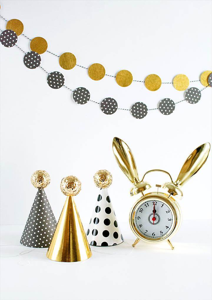 DIY Sequin Ball Mini Party Hats for New Year's Eve