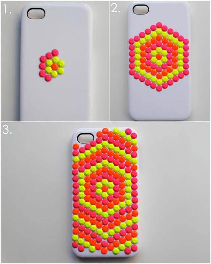 DIY iPhone Case Makeovers - Neon Studded Phone Case - Easy DIY Projects and Handmade Crafts