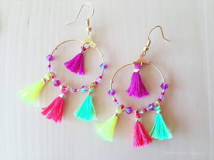 Summer DIY crafts for teens: Summer Mini Tassel Earrings