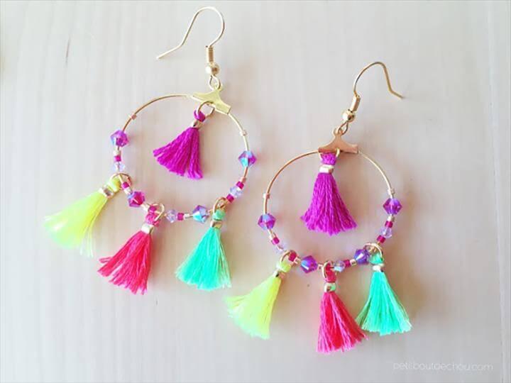 Summer DIY crafts for teens: Summer Mini Tassel Earrings