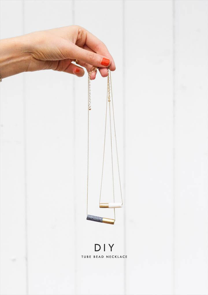 DIY Tube Bead Necklace - Handmade Gift Ideas for Teens by The Birch Cottage