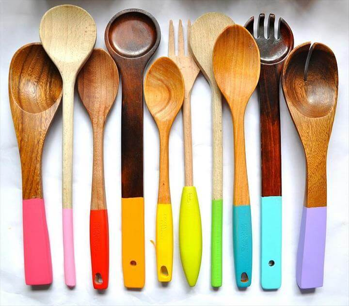 3 Painted Wooden Spoons
