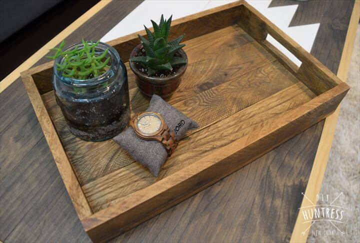 serving tray, wooden tray, Reclaimed Wood Farmhouse Tray for Anything. DIY Project ...