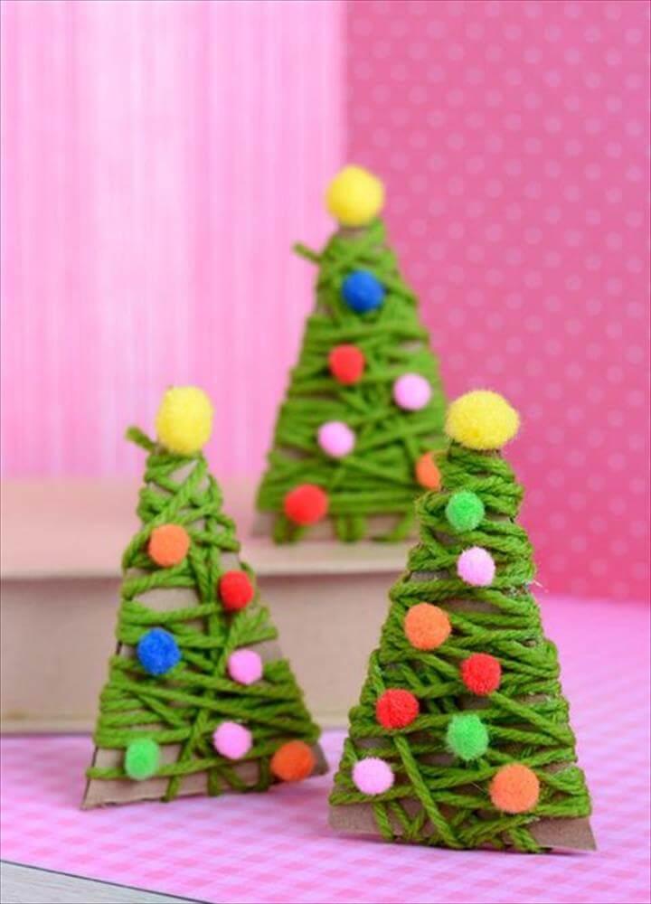 yarn-wrapped christmas trees
