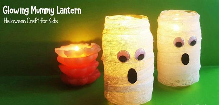 DIY Mason Jar Mummy Lantern Craft for Kids perfect for Halloween