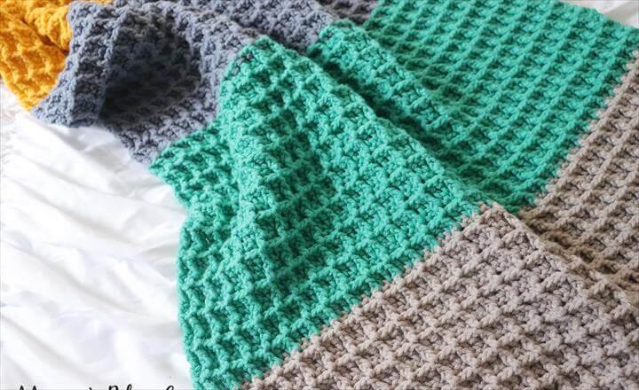 Color Block Crochet Blanket