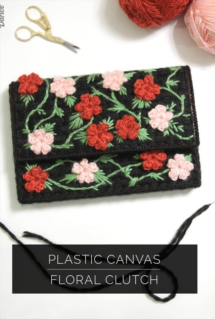DIY Clutch Bag: Plastic Canvas Floral