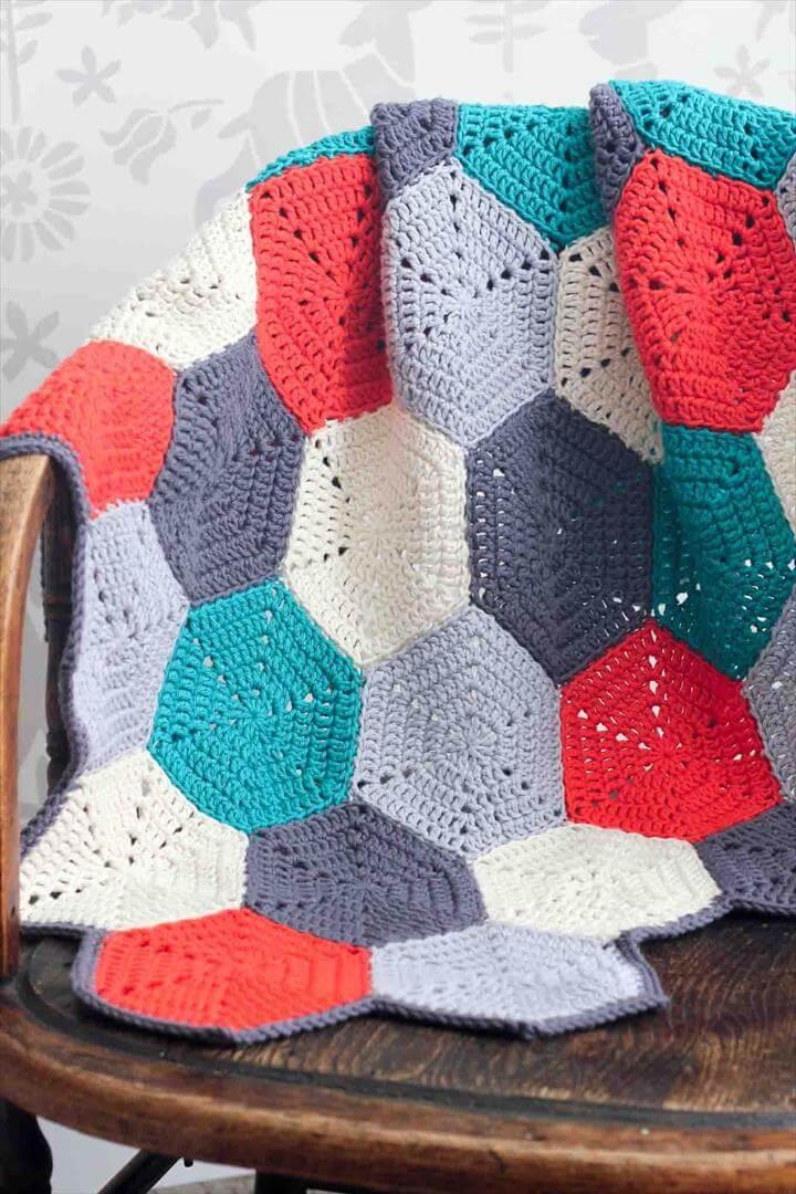 Hexagons Crochet Blanket