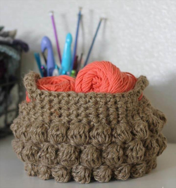 crochet basket, storage, Free Crochet Decor Patterns - Jump on the crochet trend and make some of these