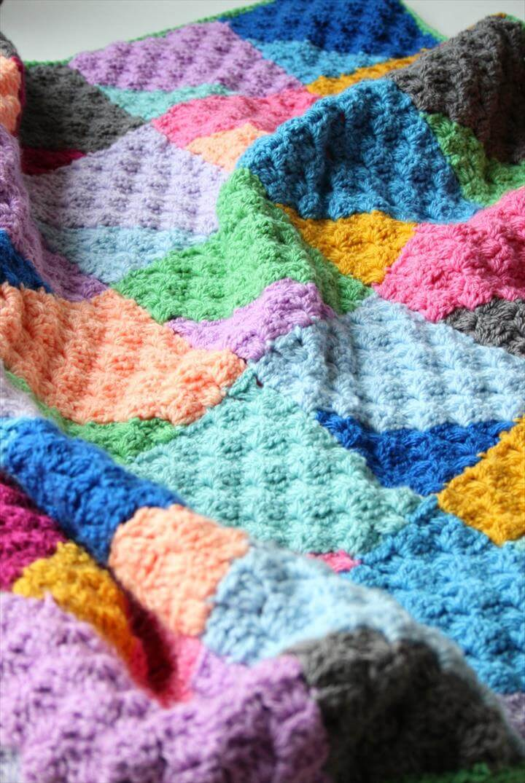 Geo Rainbow C2C Crochet Blanket
