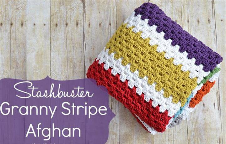 Stashbuster Granny Stripe Afghan - Free Pattern
