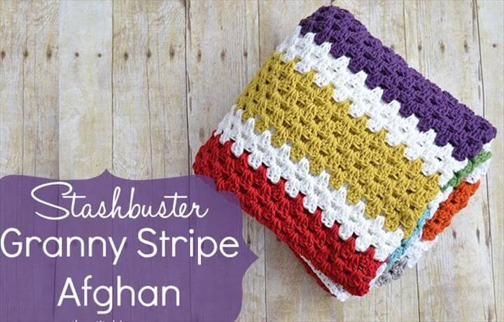 Stashbuster Granny Stripe Afghan - Free Pattern