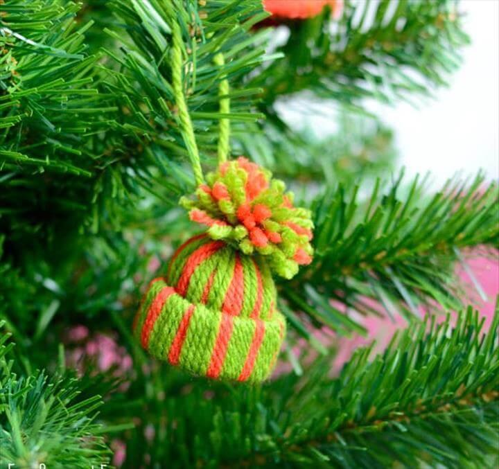 Mini Yarn Hat Ornament, Yarn Wrapped Christmas Tree Ornaments - Easy Peasy and Fun.Yarn Wrapped Christmas Tree Ornaments - Easy Peasy and Fun.Yarn Wrapped Christmas Tree Ornaments - Easy Peasy and Fun.Yarn Wrapped...