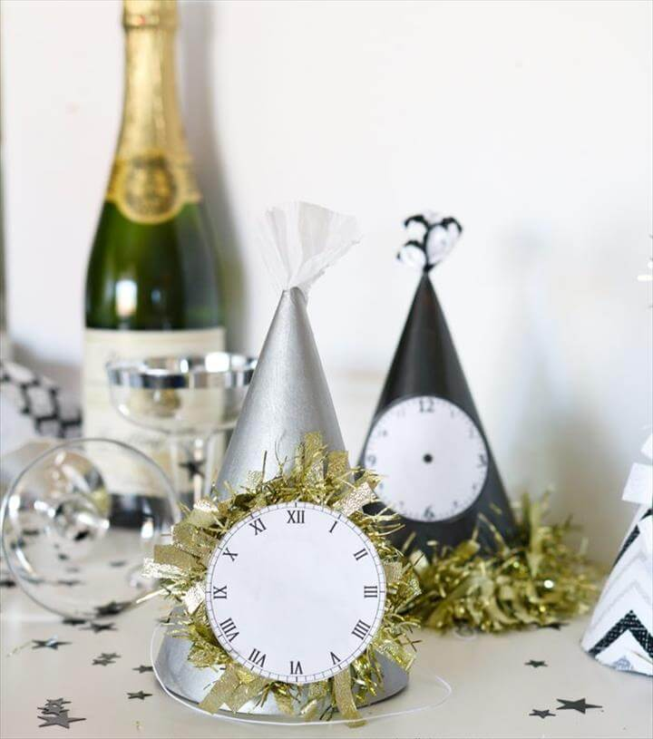 Paint or wrap fabric around dollar store party hats for EASY and cheap glam New Years
