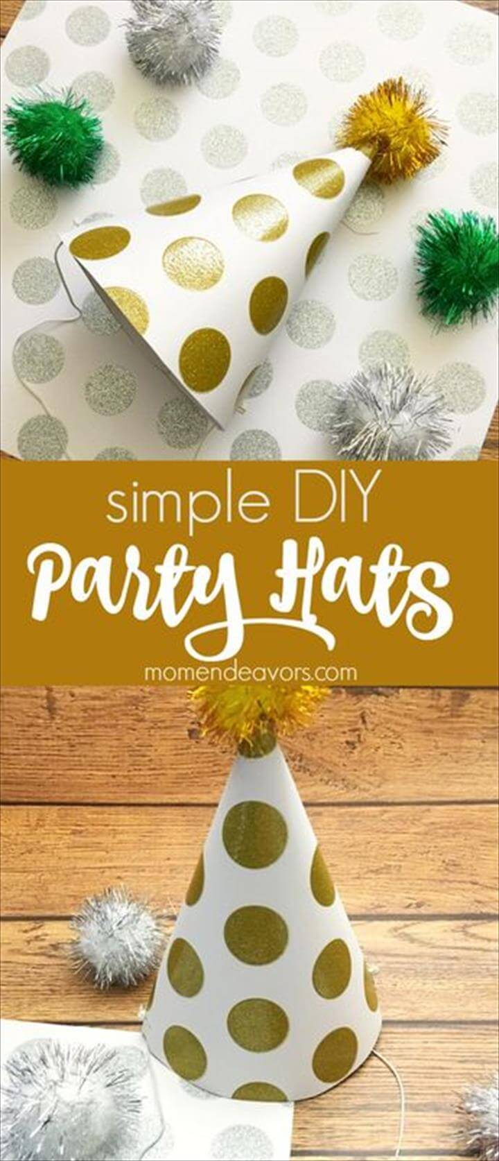 Printable Paper New Year's Eve Hats, Simple DIY Party Hats - perfect for New Year's Eve, birthday parties, and more