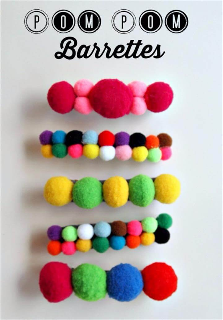 Best DIY Gifts for Girls - Pom Pom Barettes - Cute Crafts and DIY Projects that