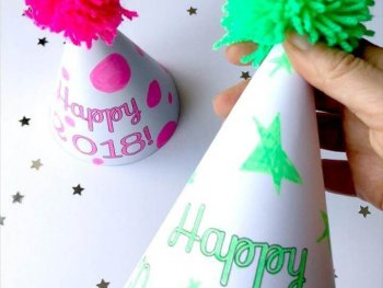 New Year's Eve Party Hat Printables - Use the templates to decorate your own or