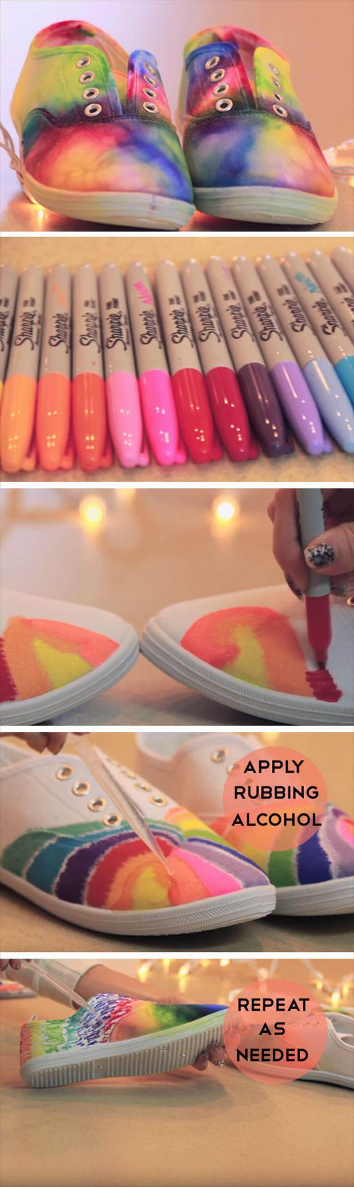 Sharpie Tie Dye Shoes, Easy Summer Crafts for Teens to Make, Easy Rainbow Crafts