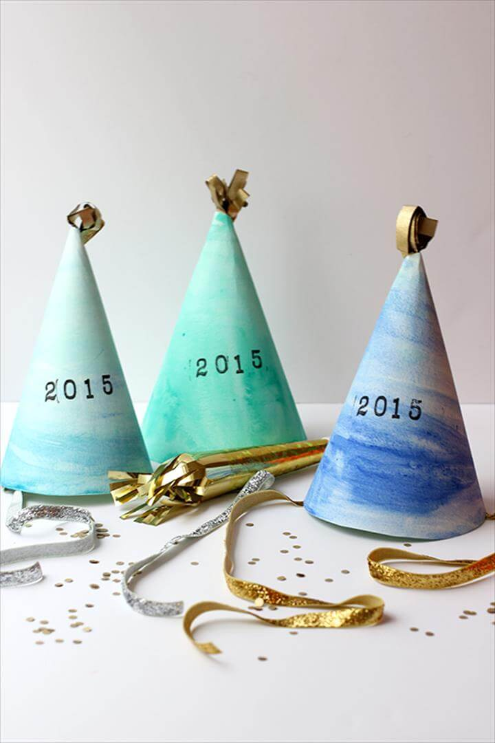 DIY: Watercolor New Year's Eve Party Hat