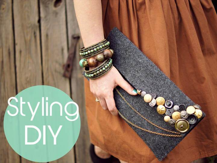Styling DIY felt and buttons clutch