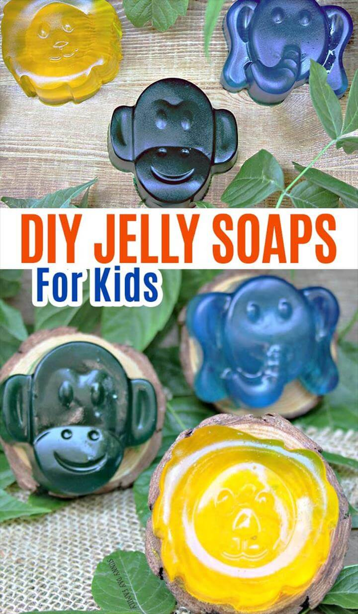 Homemade jelly soaps for kids! Soap jellies for kids with essential oils. DIY soap