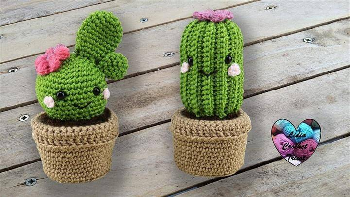 Amigurumi Mini Cactus Keychain Crochet Patterns - Crochet & Knitting | 405x720