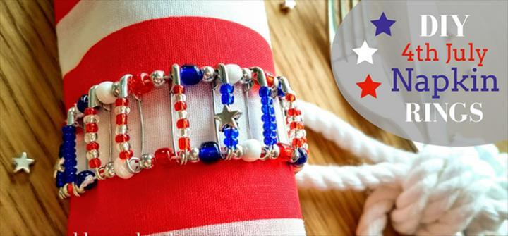 DIY Craft Project: 4th of July Safety Pin Napkin Ring, July Crafts, Napkin Rings, Diy Craft Projects, Fourth Of July, Golden Age, Napkins, Safety, Security Guard, Napkin Holders,