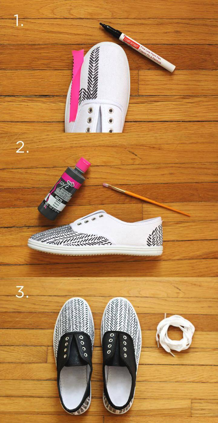 Diy black and white printed shoes