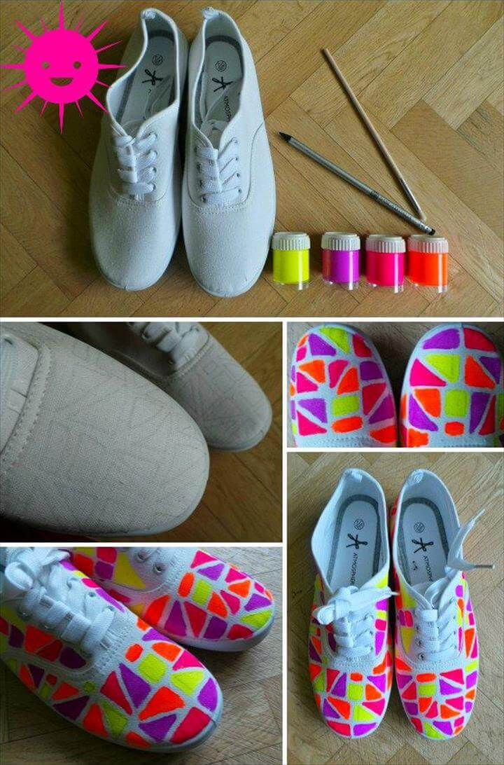 Diy 80's Fashion, Fashion Ideas, Colorful Fashion, Colorful Shoes, Paracord, 80s Theme, Designer Shoes, Painted Shoes, Fashion Project, Loafers & Slip Ons, Cool Stuff, Diy Crafts, Shoes Sandals, Wish, Old Stuff, Cool Crafts, Espadrilles, Upcycled Clothing, Paint, Presents,