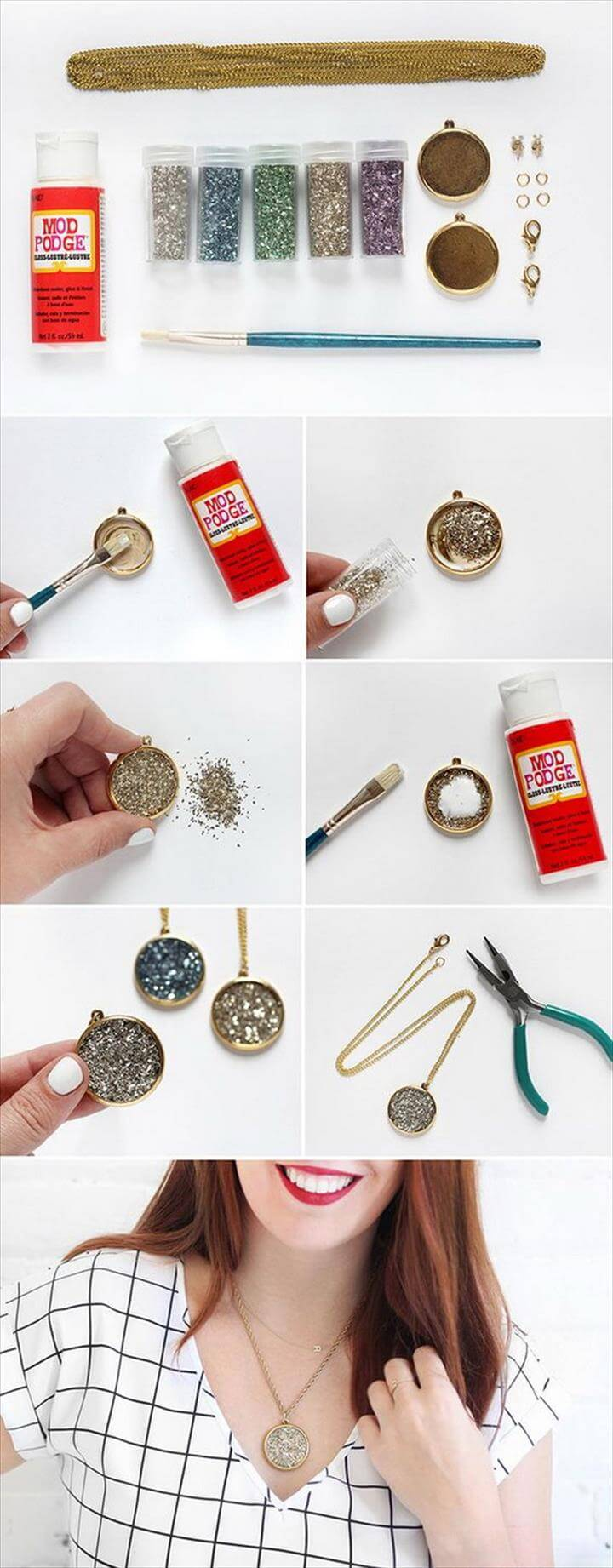 DIY Kit Faux Druzy Necklace, Glitter Projects, Glitter Crafts, Colar Chocker, Heart Crafts, Valentine Day Crafts, Valentine Heart, Fun Crafts, Diy Resin Crafts,