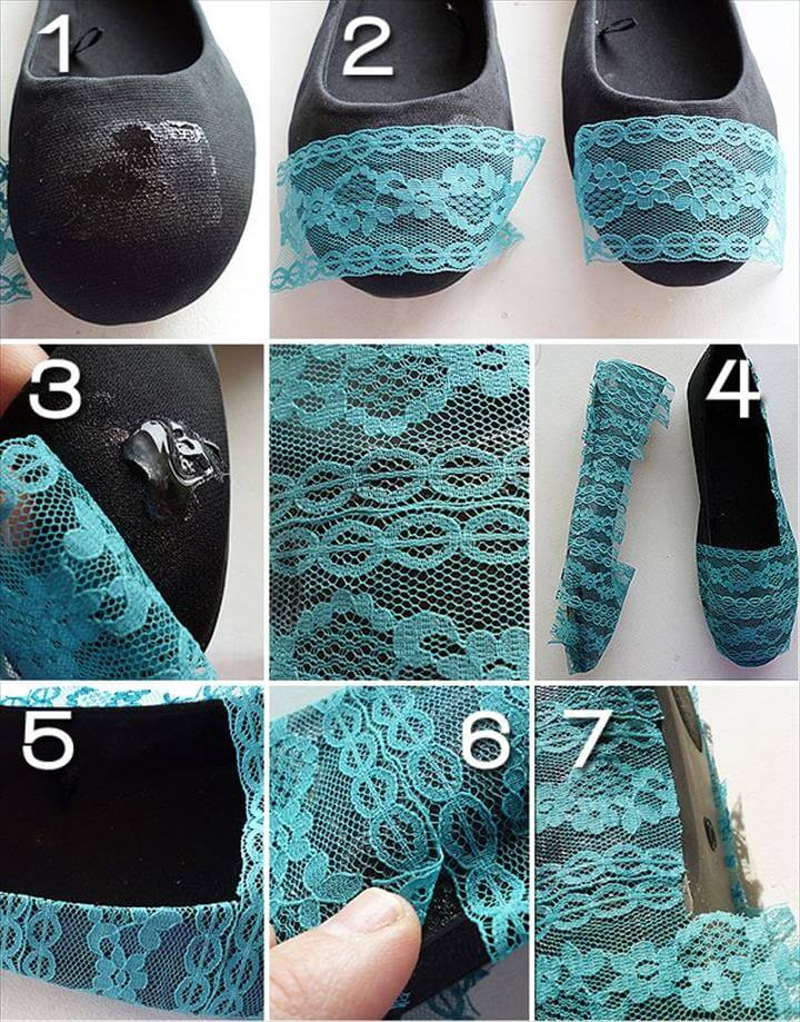 DIY Shoes, Shoe Refashion, Diy Ombre, Your Shoes, Diy Fashion, Fashion Tips, Crochet Projects, Diy Projects, Diy Tutorial, Crochet Flats,Diy Lace Flats, Diy Lace Wedding Shoes, Diy Lace Flip Flops, Diy Wedding Outfits, Wedding Flats For Bride, Lace Weddings, Lace Heels, Wedding Dresses, Wedding Attire,