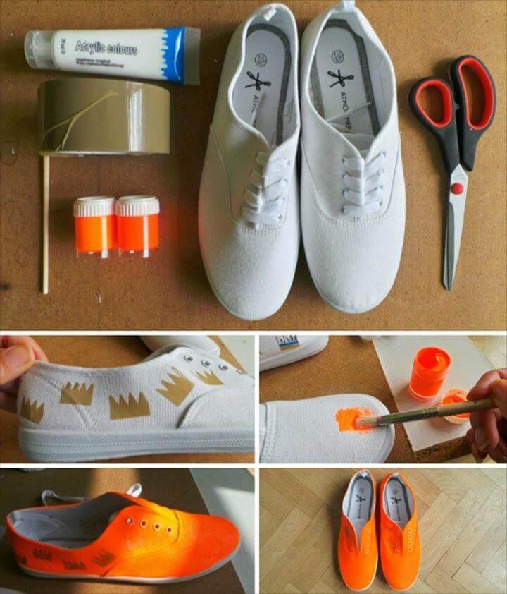 DIY Sneakers, DIY Sneakers – From Plain White To Neon Orange In 3 Steps