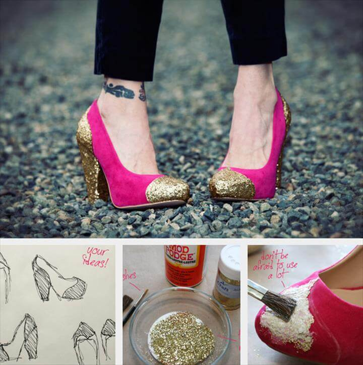 diy glitter shoe, Shoe Refashion, Glitter Shoes, Gold Glitter, Hacks, Clear Glue, Diy Fashion, Custom Shoes, Diy Projects To Try, Diy Clothes,Sparkle Shoes, Glitter Heels, Sparkly Heels, Dyi, Make Your Own, How To Make, Make It Yourself, Shoe Crafts, Diy Crafts,How To Make Glitter, Glitter Heels, Sparkle Shoes,, Creative Shoes Diy Craft Projects, Diy Crafts,, Geek Crafts Diy Fashion Accessories, Clothes Crafts,
