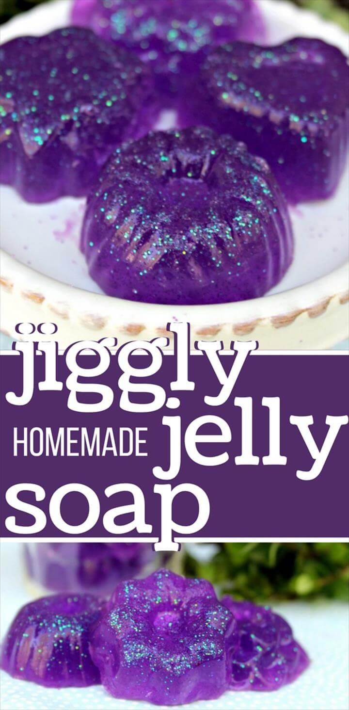 Fun, jiggly homemade jelly soap made with gelatin - no melt and pour soap base